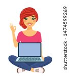 young girl sitting with laptop... | Shutterstock .eps vector #1474599269