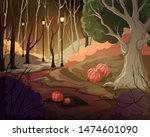 creepy forest landscape with... | Shutterstock .eps vector #1474601090