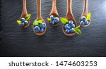 freshly picked blueberries on... | Shutterstock . vector #1474603253