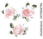 watercolor flower set...   Shutterstock . vector #1474606796