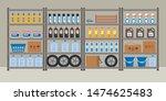 storeroom. shelving with... | Shutterstock .eps vector #1474625483