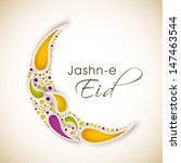 Jashn E Eid (Celebration of festival Eid) text with floral decorated moon on  abstract background.