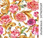 watercolor vintage golden... | Shutterstock . vector #1474654169