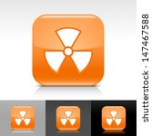 radiation icon set. orange...