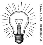 vintage light bulb in sketch... | Shutterstock .eps vector #1474679969