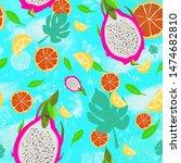 seamless pattern with lemons ... | Shutterstock . vector #1474682810