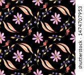 seamless pattern with autumn... | Shutterstock . vector #1474707953