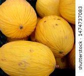 Small photo of Macro Photo food fruit asian galia melon. Texture background food colorful fruit yellow galia melons