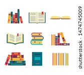 books set isolated on white... | Shutterstock .eps vector #1474745009