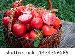 Tomatoes Basket. Basket Of...