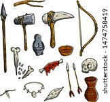 Set Of Tools And Weapons Of...