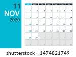 november 2020 calendar planner  ... | Shutterstock .eps vector #1474821749