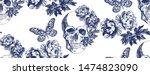 skull withc and butterflies.... | Shutterstock .eps vector #1474823090