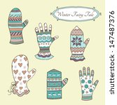 vector set with hand drawn... | Shutterstock .eps vector #147487376