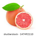 Pink Grapefruit With Leaf Over...