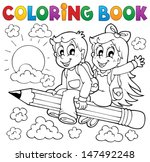 coloring book pupil theme 3  ... | Shutterstock .eps vector #147492248