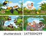 set of various animals in... | Shutterstock .eps vector #1475004299