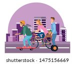 young people riding with bikes... | Shutterstock .eps vector #1475156669