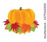 autumn theme  leafs and pumpkin  | Shutterstock .eps vector #1475163203