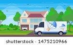 cargo van truck driving road... | Shutterstock .eps vector #1475210966