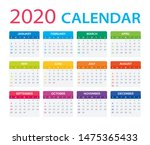 2020 calendar   sunday to... | Shutterstock .eps vector #1475365433