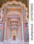 Small photo of Patrika gate. The ninth gate of Jaipur locate at Jawahar Circle, Jaipur, Rajasthan, India