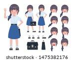 asian student in school uniform.... | Shutterstock .eps vector #1475382176