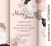 invitation or wedding card with ... | Shutterstock .eps vector #147540854