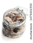 Stock photo sliced salted herring in glass jar isolated on white 1475431553