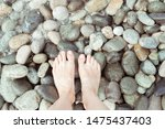Human Feet On Various Colored...