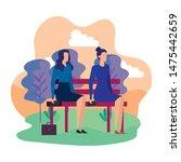 elegant businesswomen seated in ...   Shutterstock .eps vector #1475442659