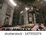 Small photo of VATICAN CITY, VATICAN - DECEMBER 31 : Pope John Paul II celebrates the Vespers and Te Deum prayers in Saint Peter's Basilica at the Vatican on December 31, 2004.