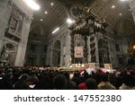 Small photo of VATICAN CITY, VATICAN - DECEMBER 31 : General view of St Peters Basilica as Pope John Paul II celebrates the Vespers and Te Deum prayers in Saint Peter's Basilica at the Vatican on December 31, 2004.