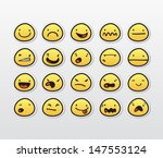 Funny smiley faces with different expressions