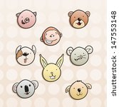heads of different cute animals | Shutterstock .eps vector #147553148