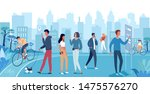 group of people walking on the...   Shutterstock .eps vector #1475576270
