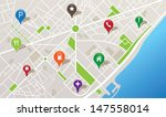 city map with navigation icons | Shutterstock .eps vector #147558014