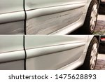 Small photo of Photo of car dent repair before and after