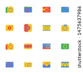 16 flat camera icons pack in...