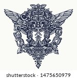 ancient mayan tattoo and t... | Shutterstock .eps vector #1475650979