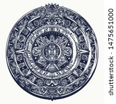 aztec sun stone. tattoo and t... | Shutterstock .eps vector #1475651000