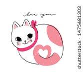 cartoon cute cat in love vector. | Shutterstock .eps vector #1475681303