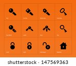 key icons on orange background. ... | Shutterstock .eps vector #147569363