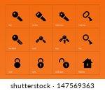 key icons on orange background. ... | Shutterstock .eps vector #147569363