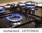 Blue Flames On Gas Stove Burne...
