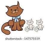 cute cartoon cat with kittens   ... | Shutterstock .eps vector #147575519