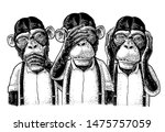 three wise monkeys with hand on ... | Shutterstock .eps vector #1475757059
