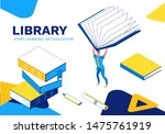 library isometric landing page  ...