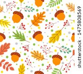 seamless autumn leaves pattern. ... | Shutterstock .eps vector #1475808569