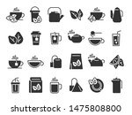 black tea leaves icons. hot... | Shutterstock .eps vector #1475808800